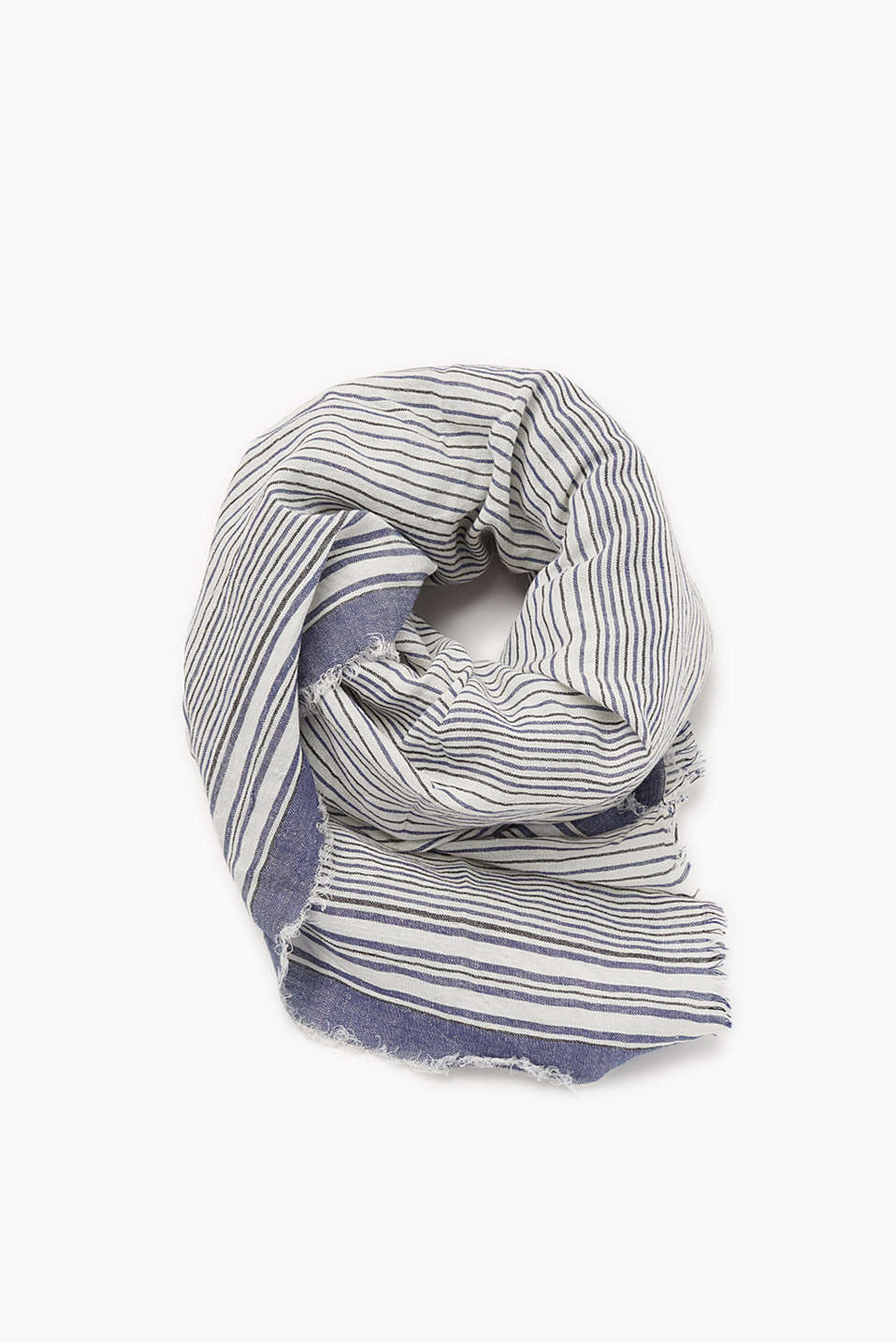Striped scarf with fine fringing