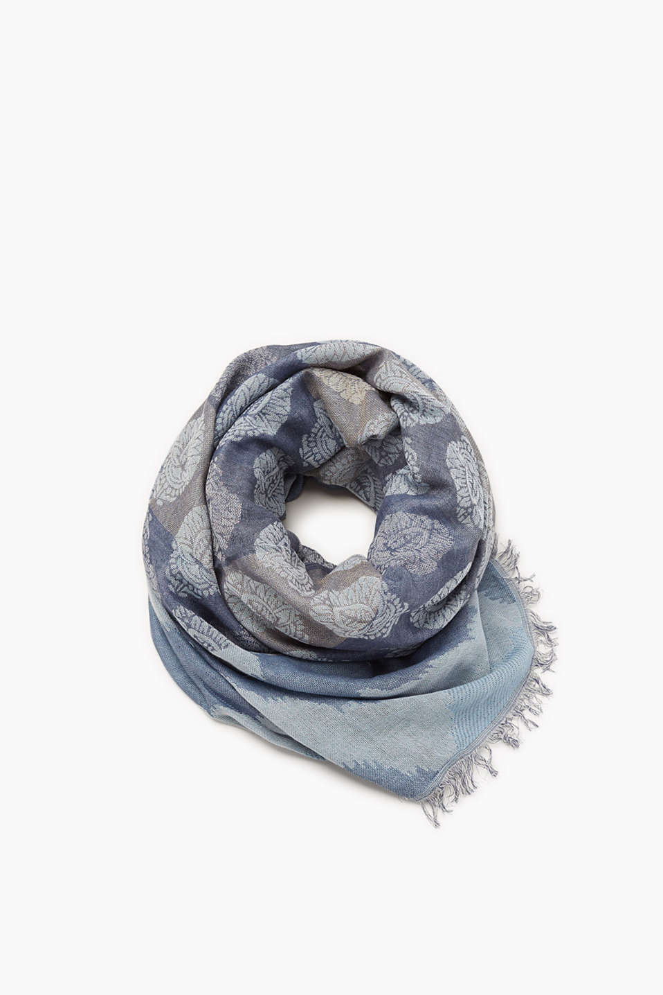 Esprit - Scarf with jacquard pattern, cotton blend