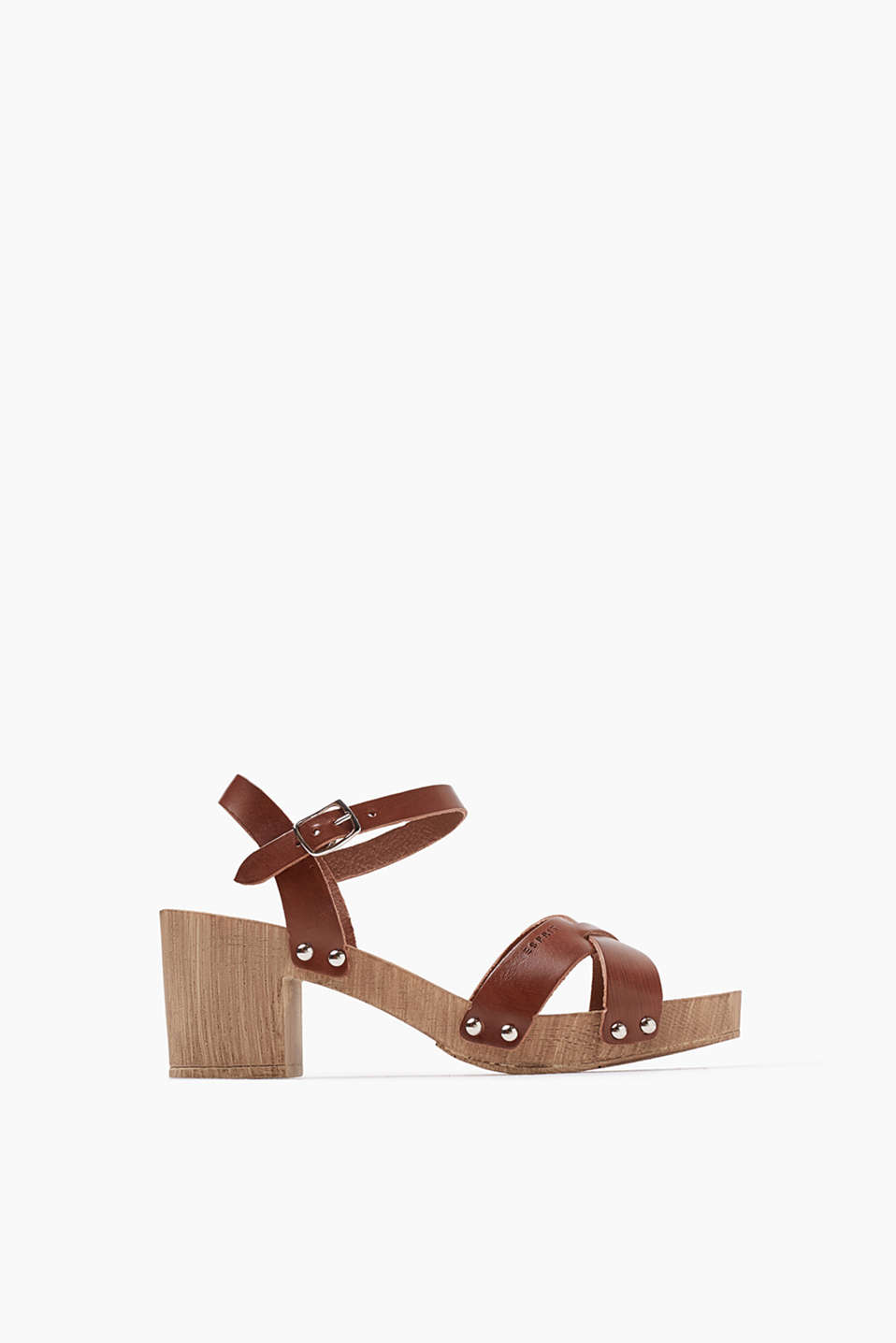Clog sandals with ankle straps and a wood-effect heel