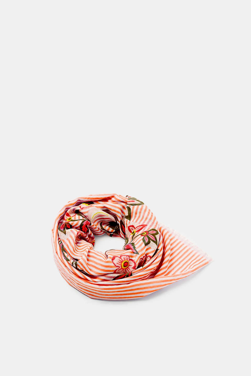 Position and drape it as the mood takes you: spring-ready scarf with a vibrant, floral/stripe print.