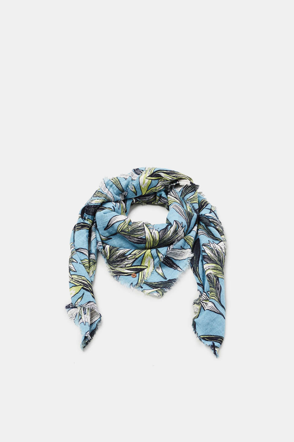 edc - Striped scarf made of smooth cotton-blended fabric