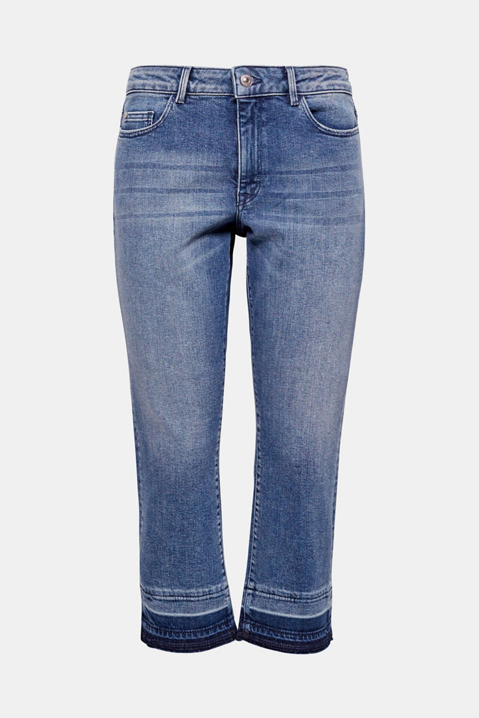 These slightly stretchy ankle-length jeans with a let-out hem in a casual garment-washed look exude casual coolness.