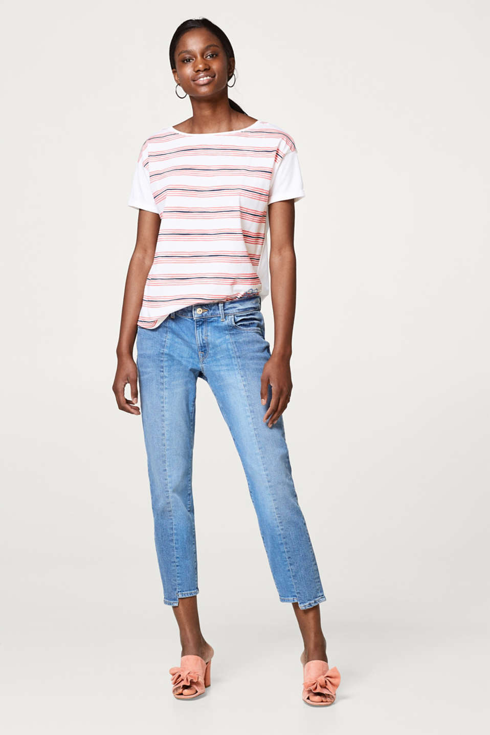 edc - 7/8 Stretch-Jeans, High-Low-Saum