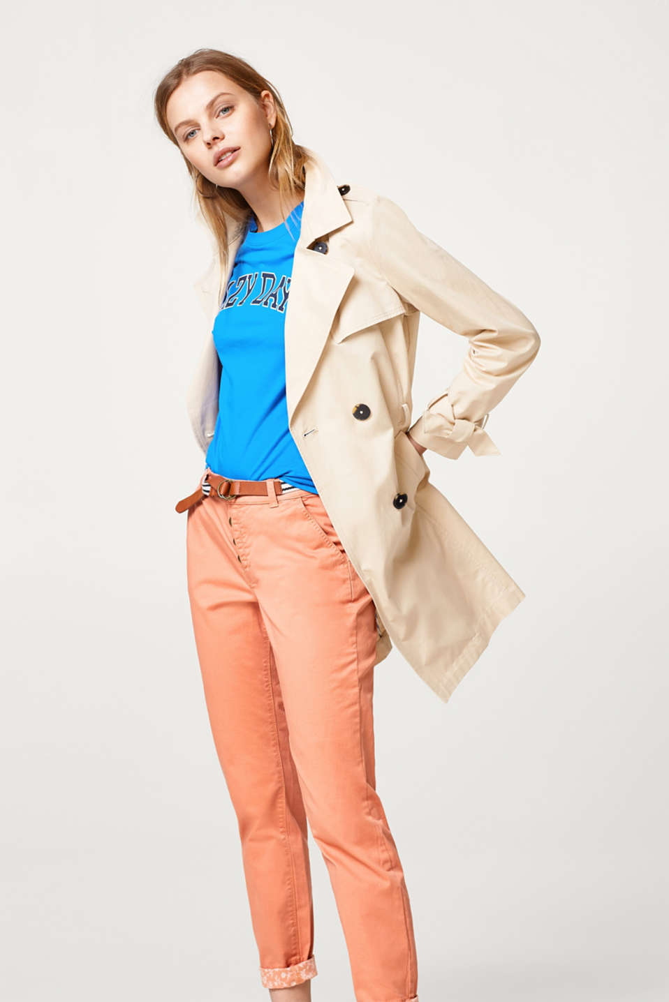 Chinos with button fly and belt