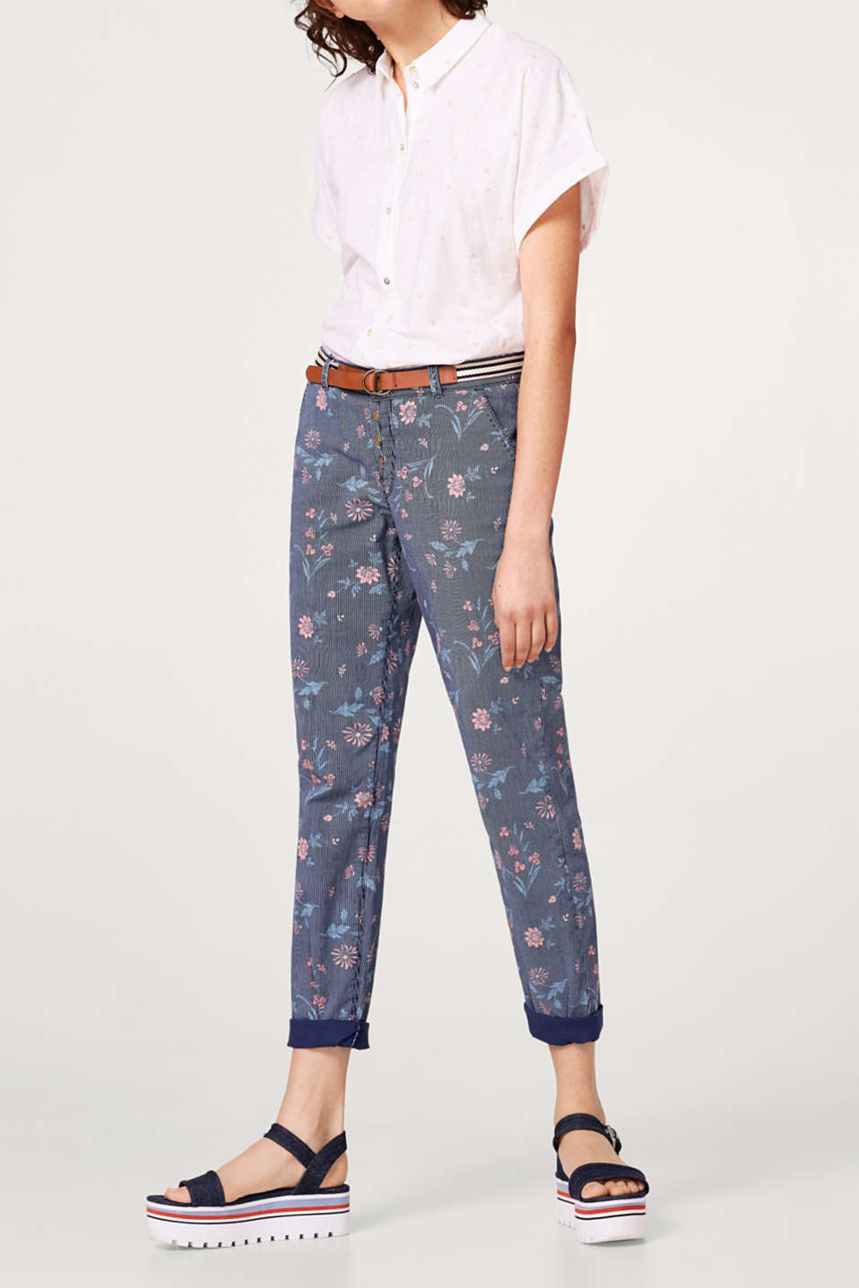 edc - Printed chinos with a button fly and belt