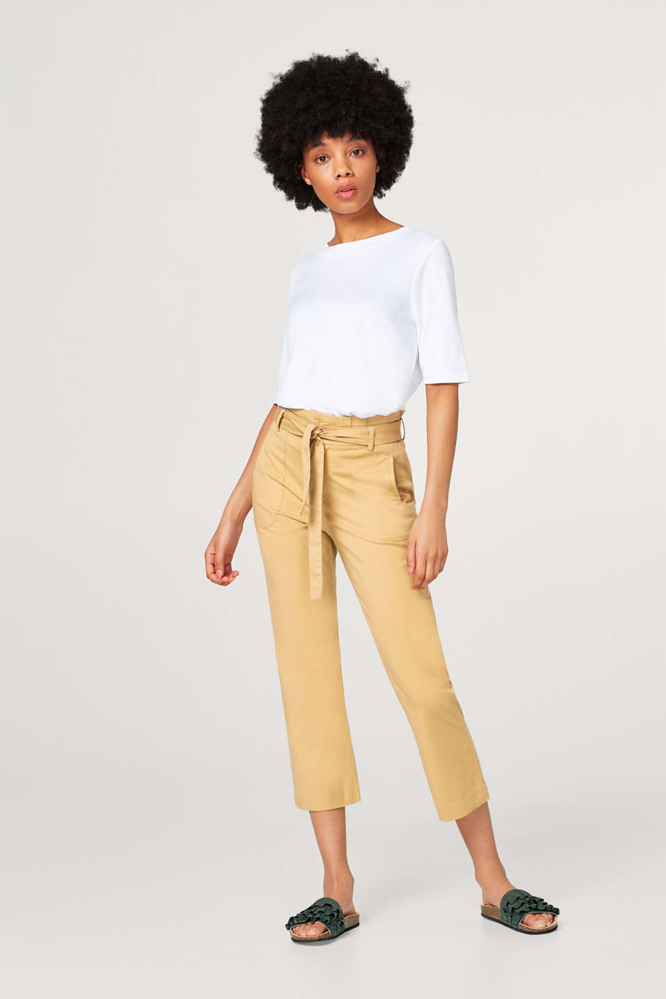 edc - 7/8-length trousers with a paper bag waistband
