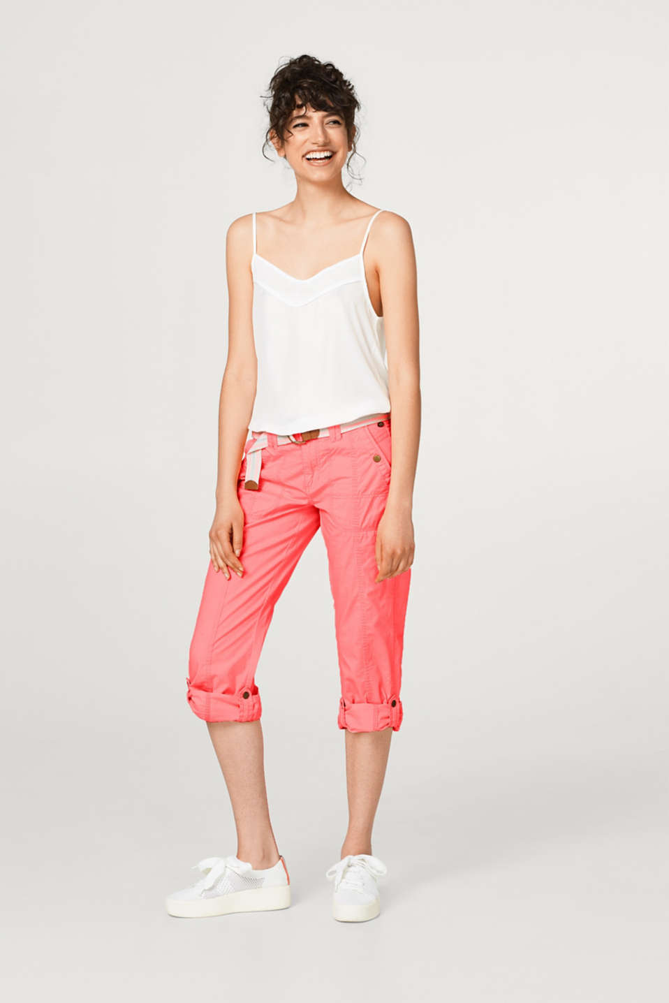 edc - PLAY turn-up cotton trousers