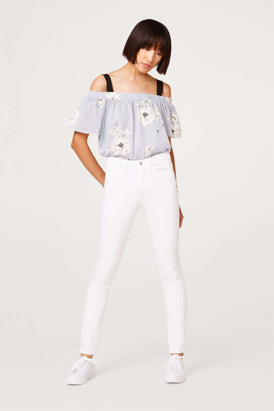 edc - High-waisted white stretch jeans