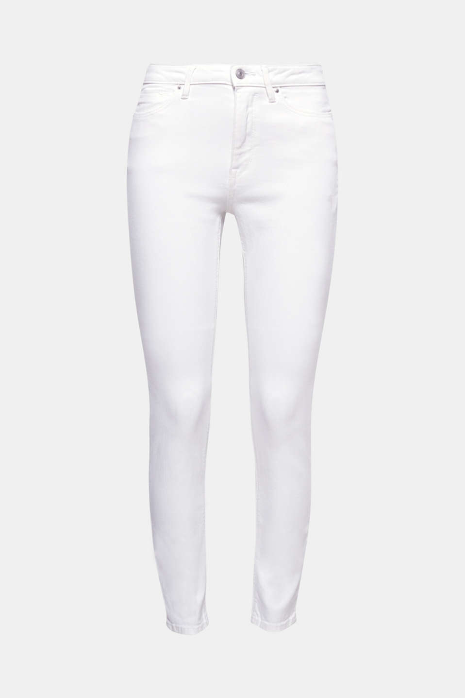 They instantly conjure up a fantastically fresh look:  pure white, high-rise cotton jeans with added stretch for comfort.