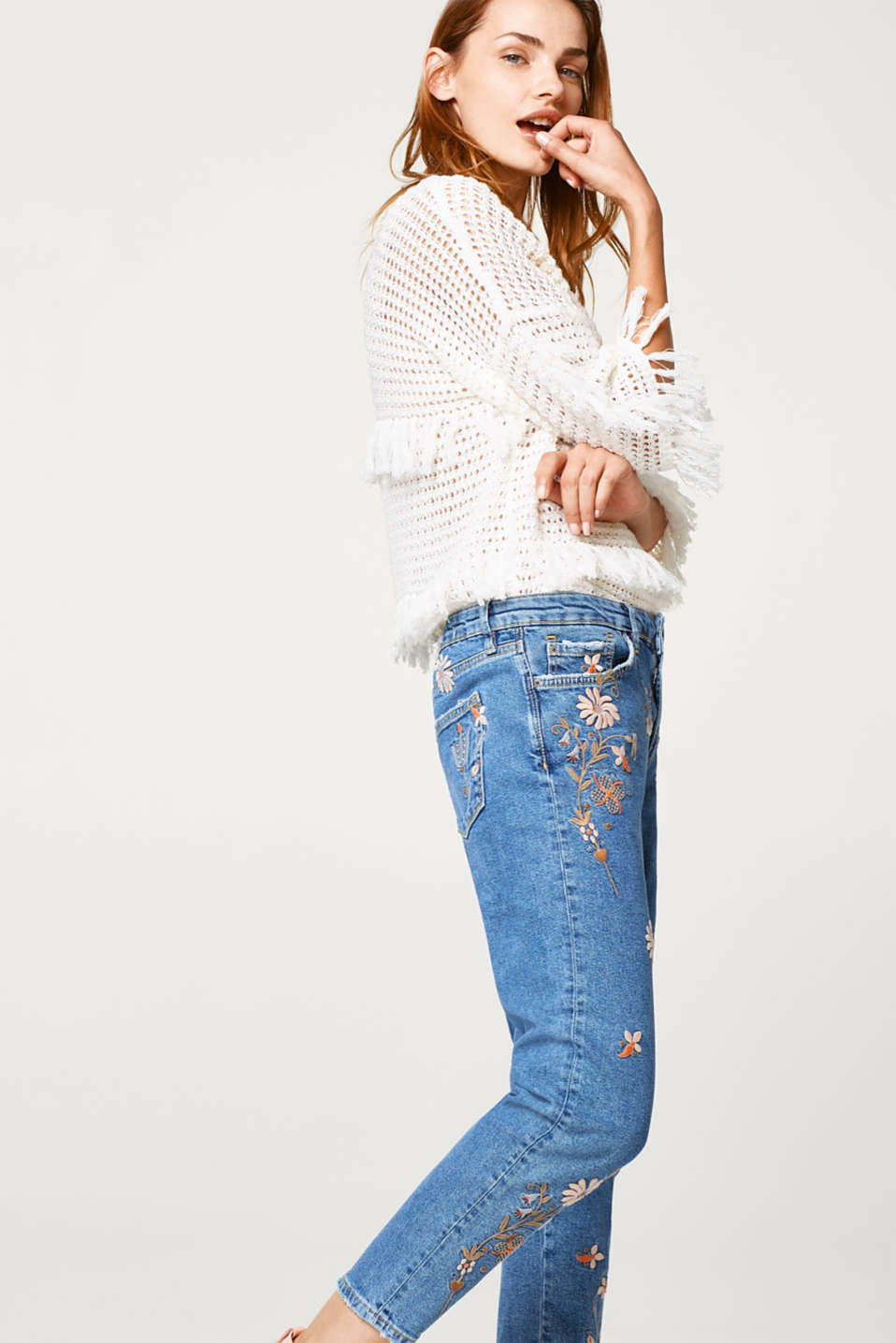 edc - Cropped stretch jeans with floral embroidery