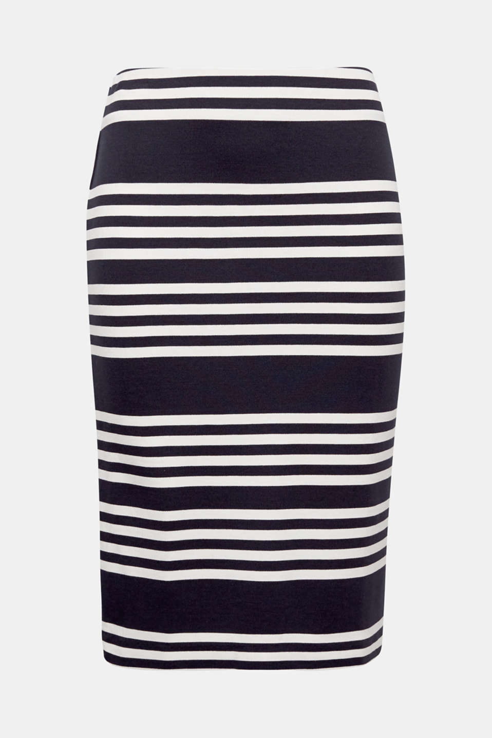 This nautical striped pencil skirt in compact stretch jersey creates a feminine look and is extremely comfortable.