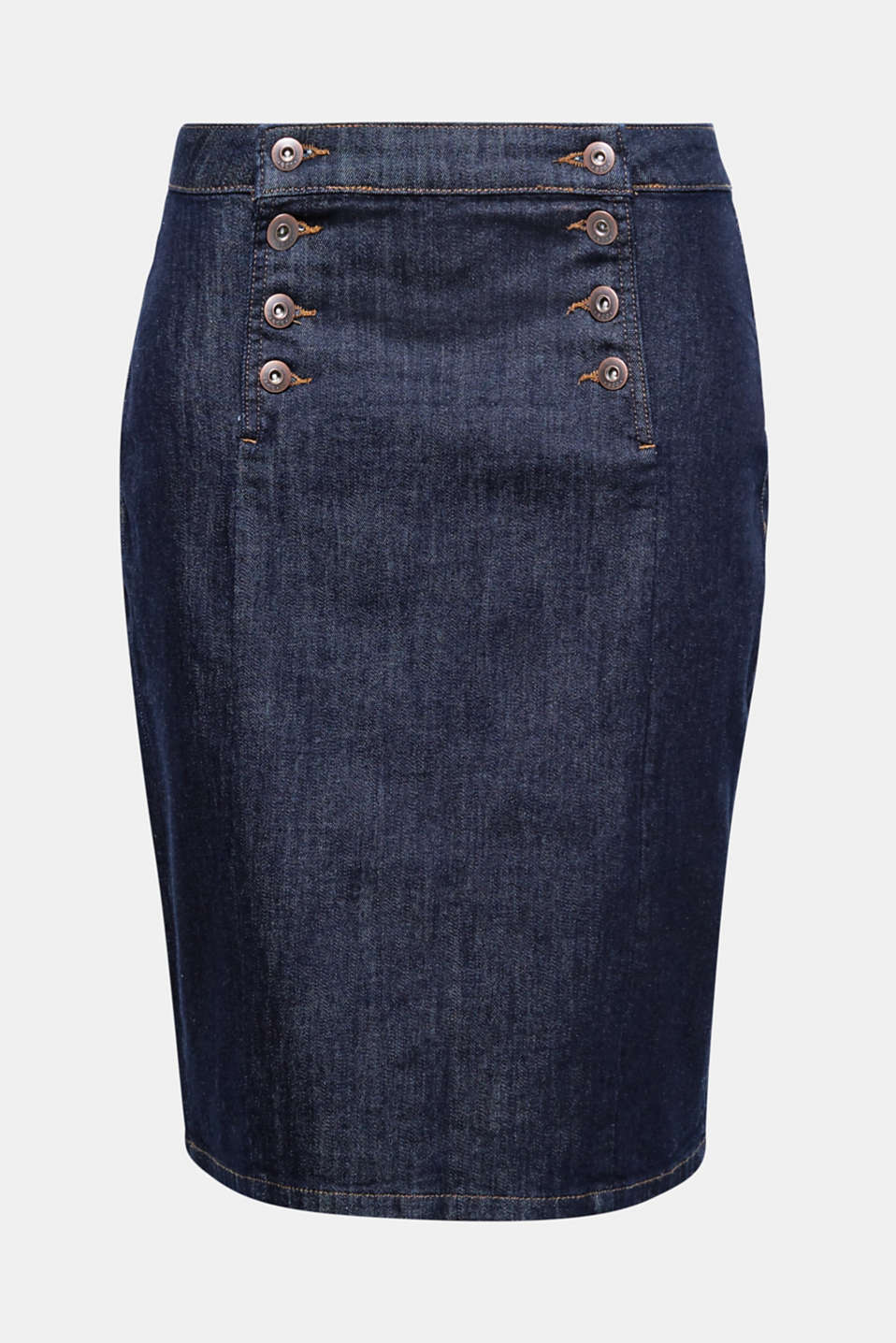 A double button placket and dark wash accentuate the waist of this gently figure-shaping pencil skirt!