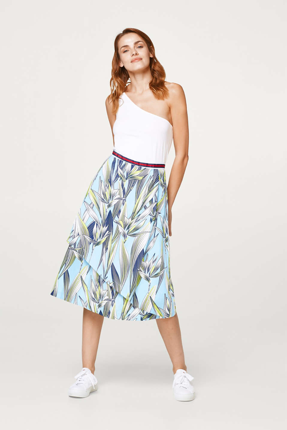 Printed cotton A-line skirt