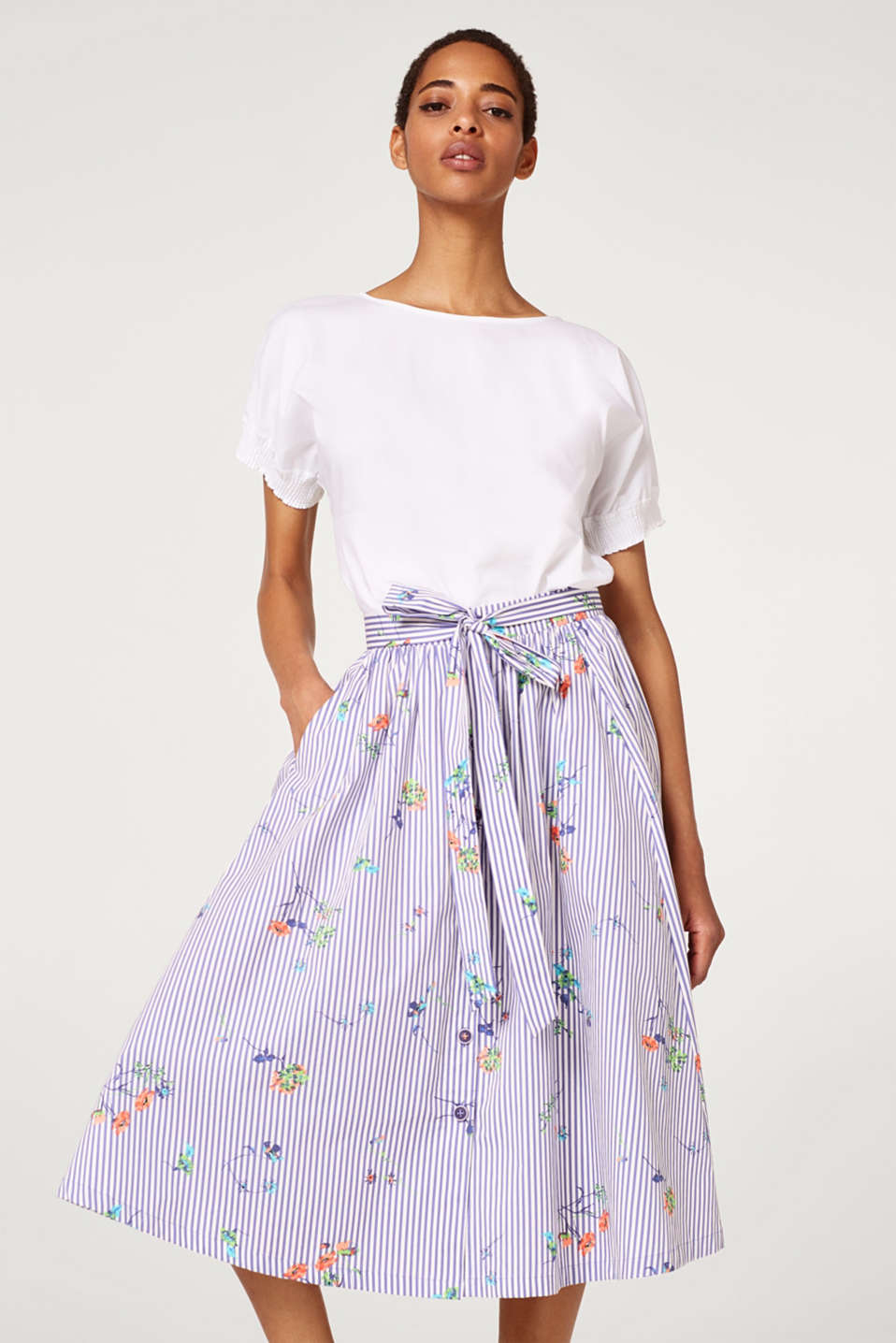 edc - Flared midi skirt made of 100% cotton