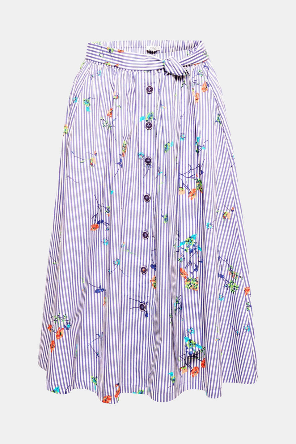 This cotton skirt features a fashionable midi length and a fresh mixed pattern consisting of stripes and romantic flowers, making it a fashion piece for summer.