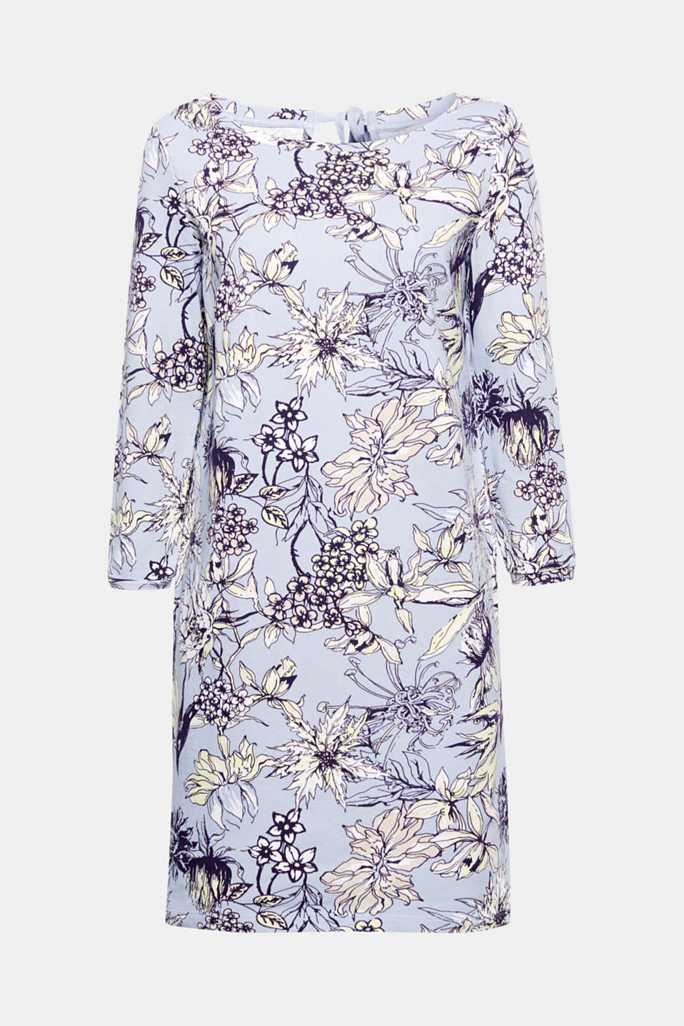 Welcome spring into your wardrobe with this floral printed dress in cotton sweatshirt fabric.