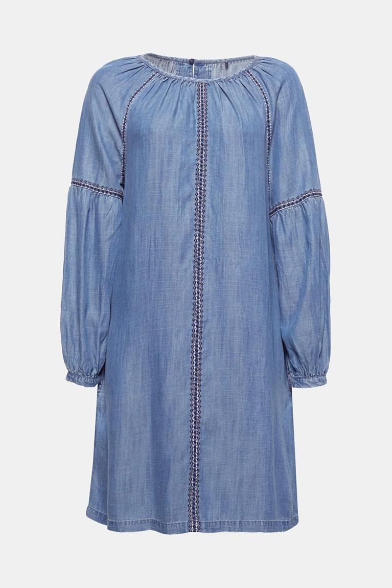 Kleid in Denim-Optik, mit Ballonärmeln