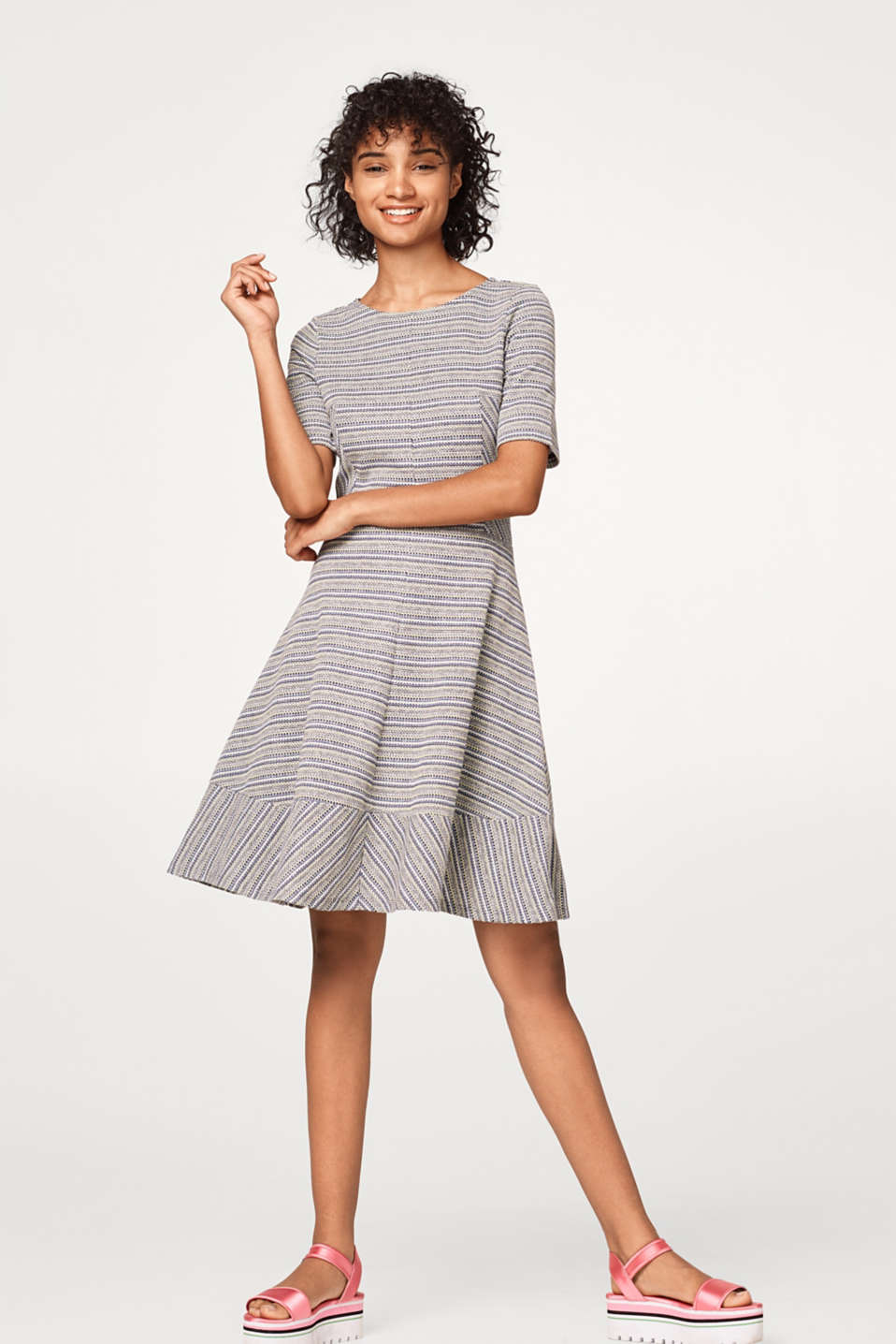A-line dress with patterned stripes