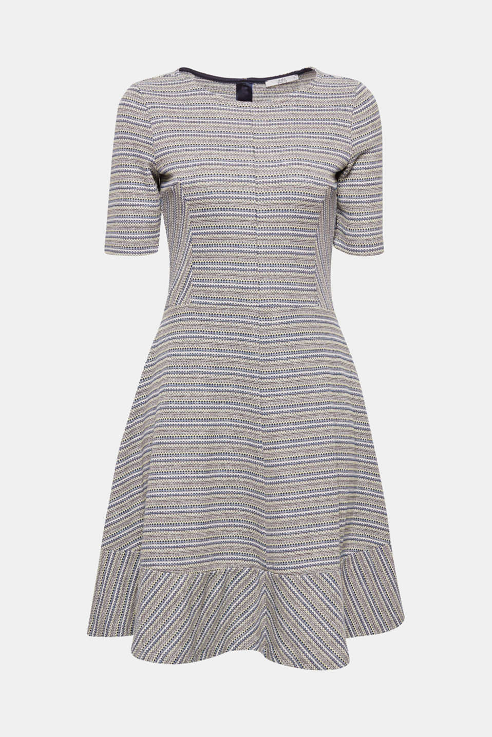 This swirling, flared dress looks fresh and simple with its textured, patterned stripes.