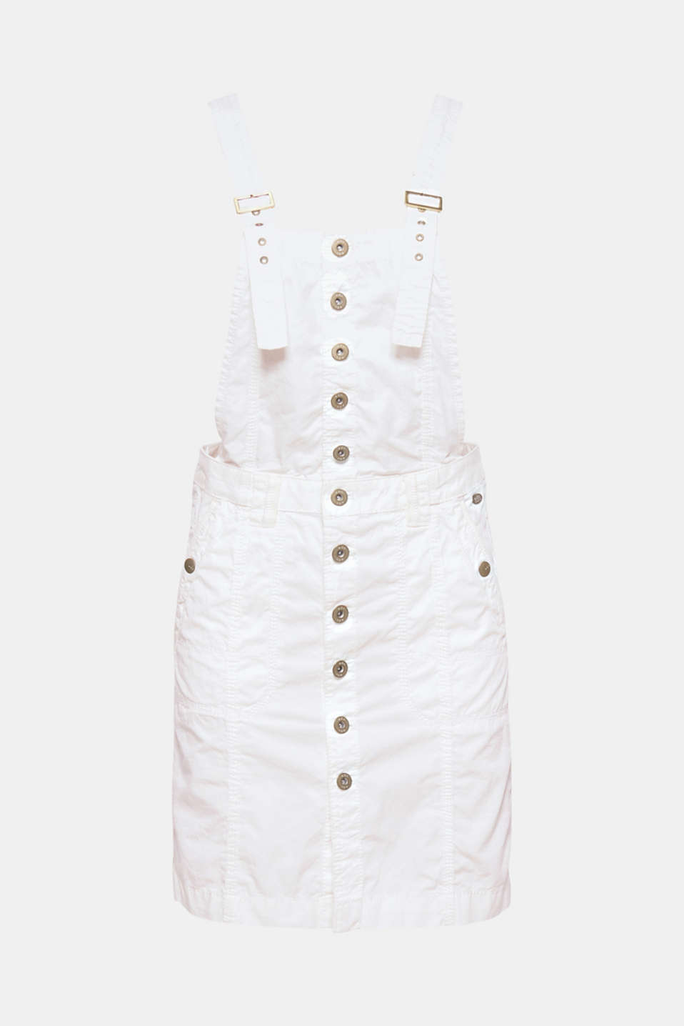 This cotton pinafore dress with patch pockets and darts in a fashionable utility style is sporty and trendy.