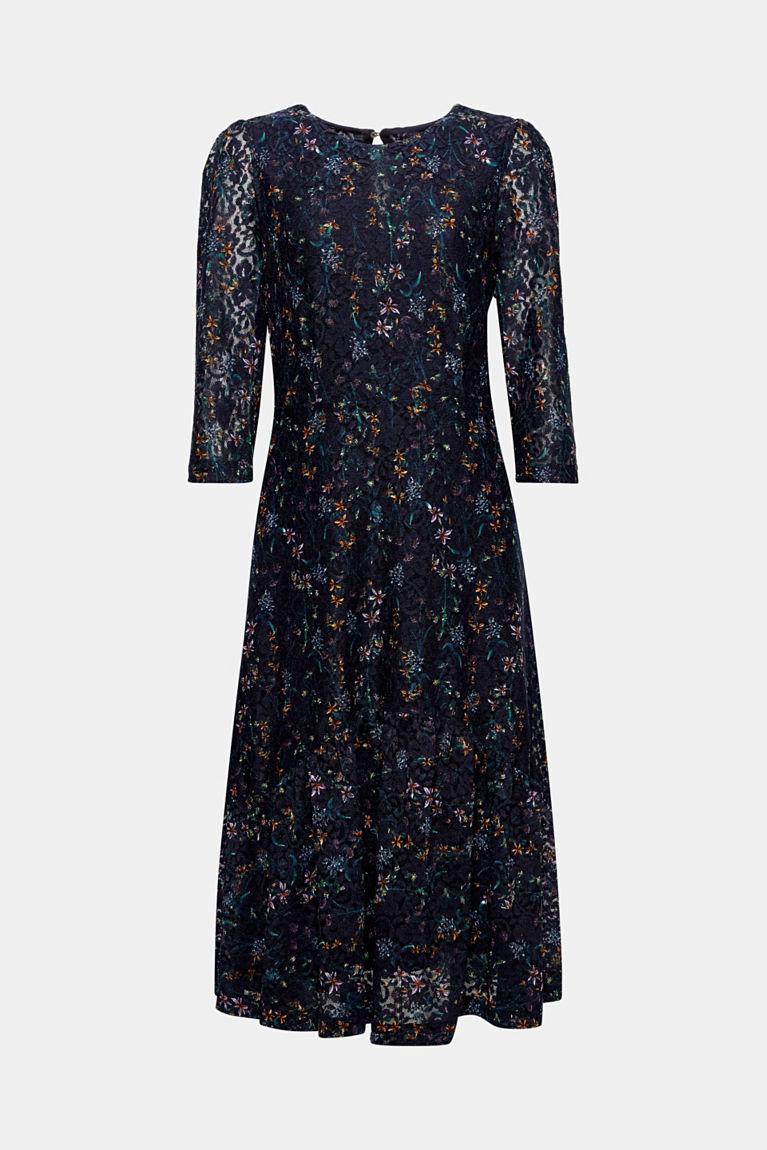 Spitzen-Kleid mit Blumen-Muster und Volant-Besatz