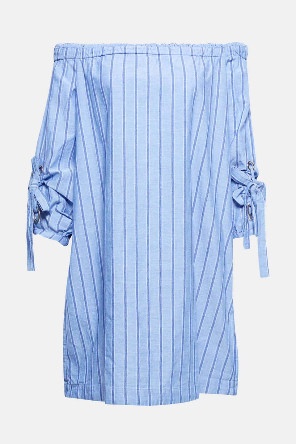 This casual, off-the-shoulder dress made of gently processed, high-quality organic cotton with vertical stripes and bow sleeves perfectly accentuates beautiful shoulders!
