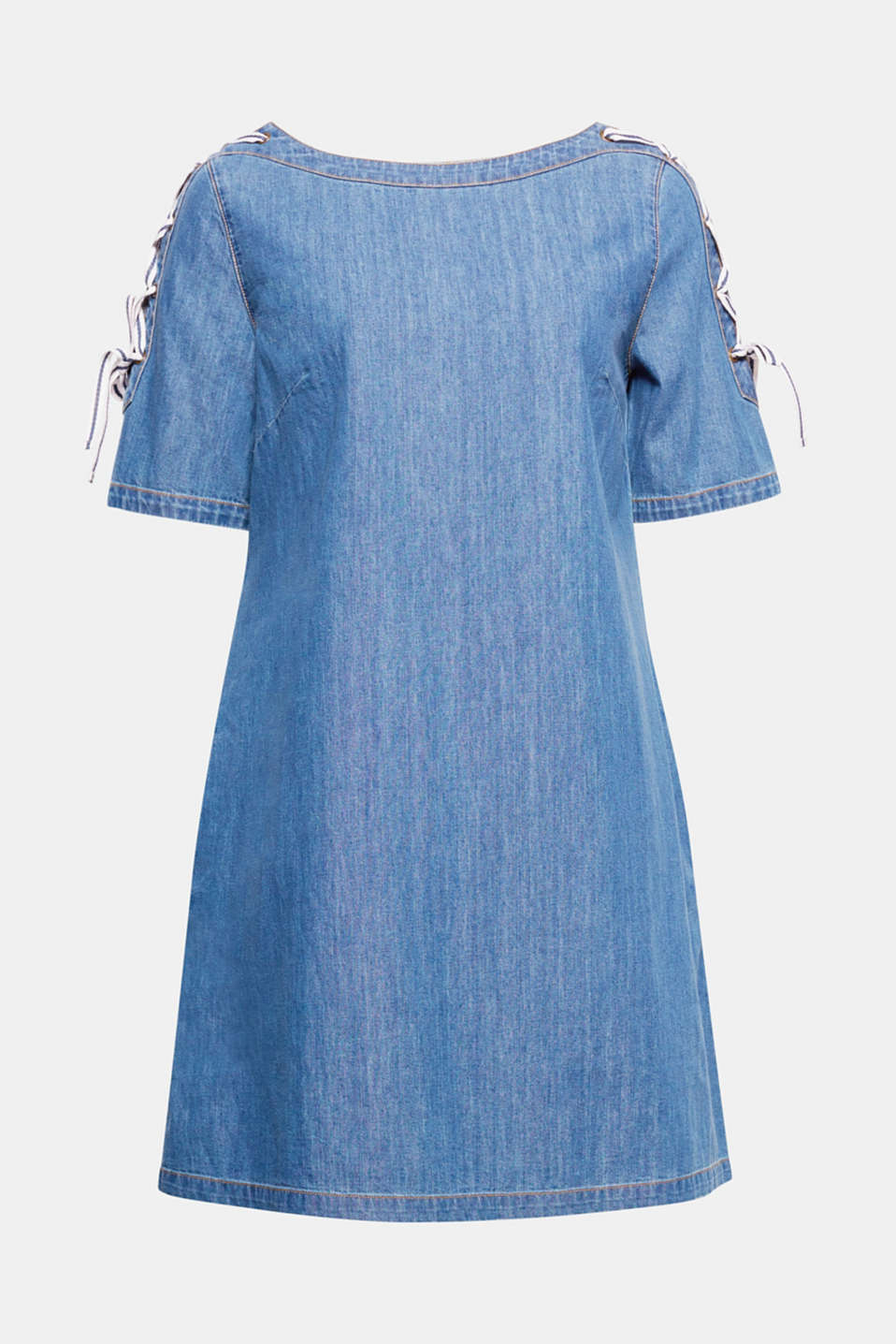 The decorative lacing on the sleeves gives these slightly flared denim dress its innovative, fashionable look.