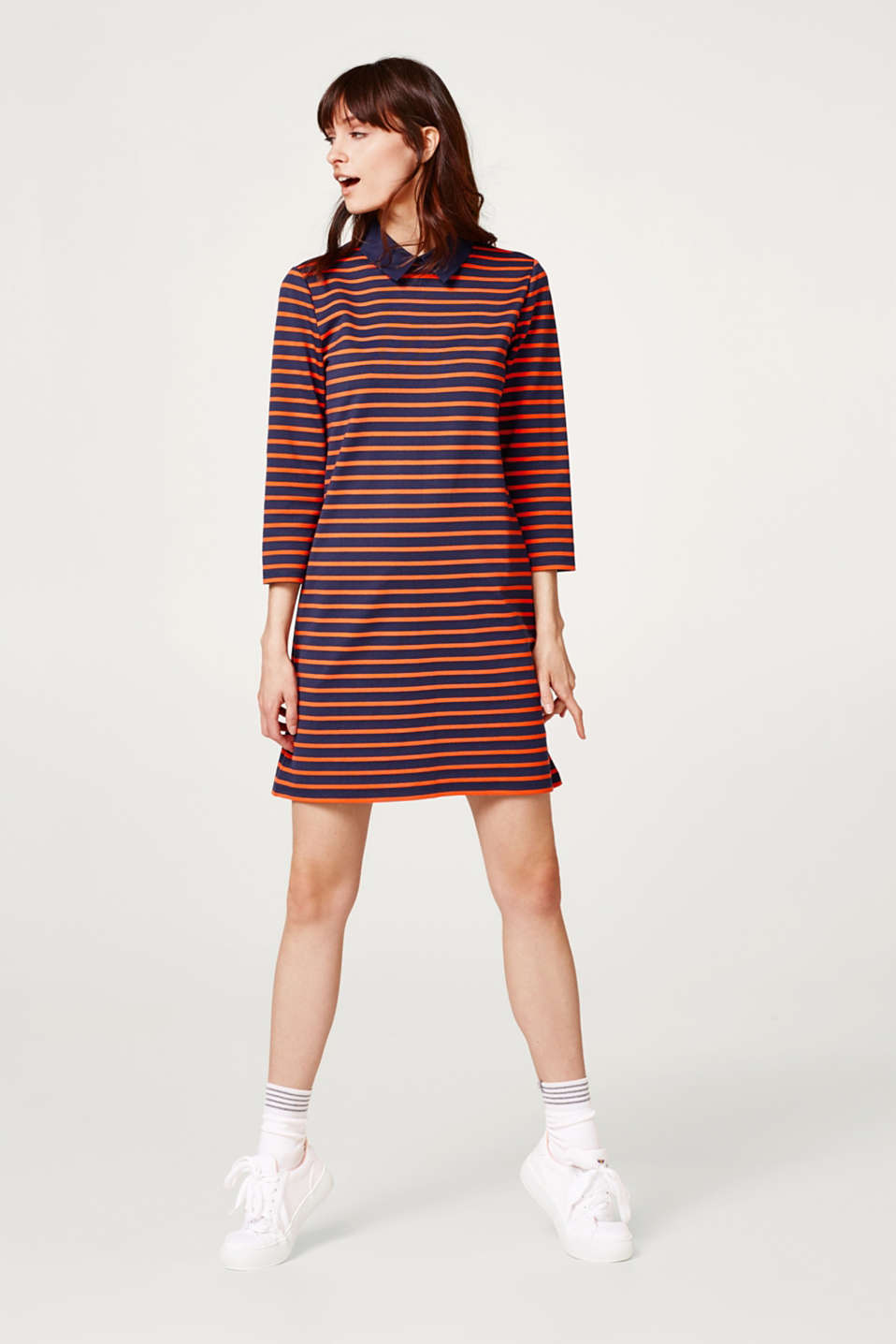 Striped dress with stretch for comfort