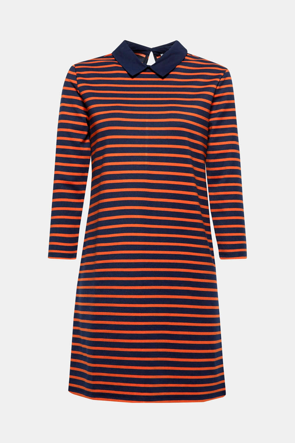 With its classic shirt collar, this stretch dress with nautical stripes will become a special styling hit.