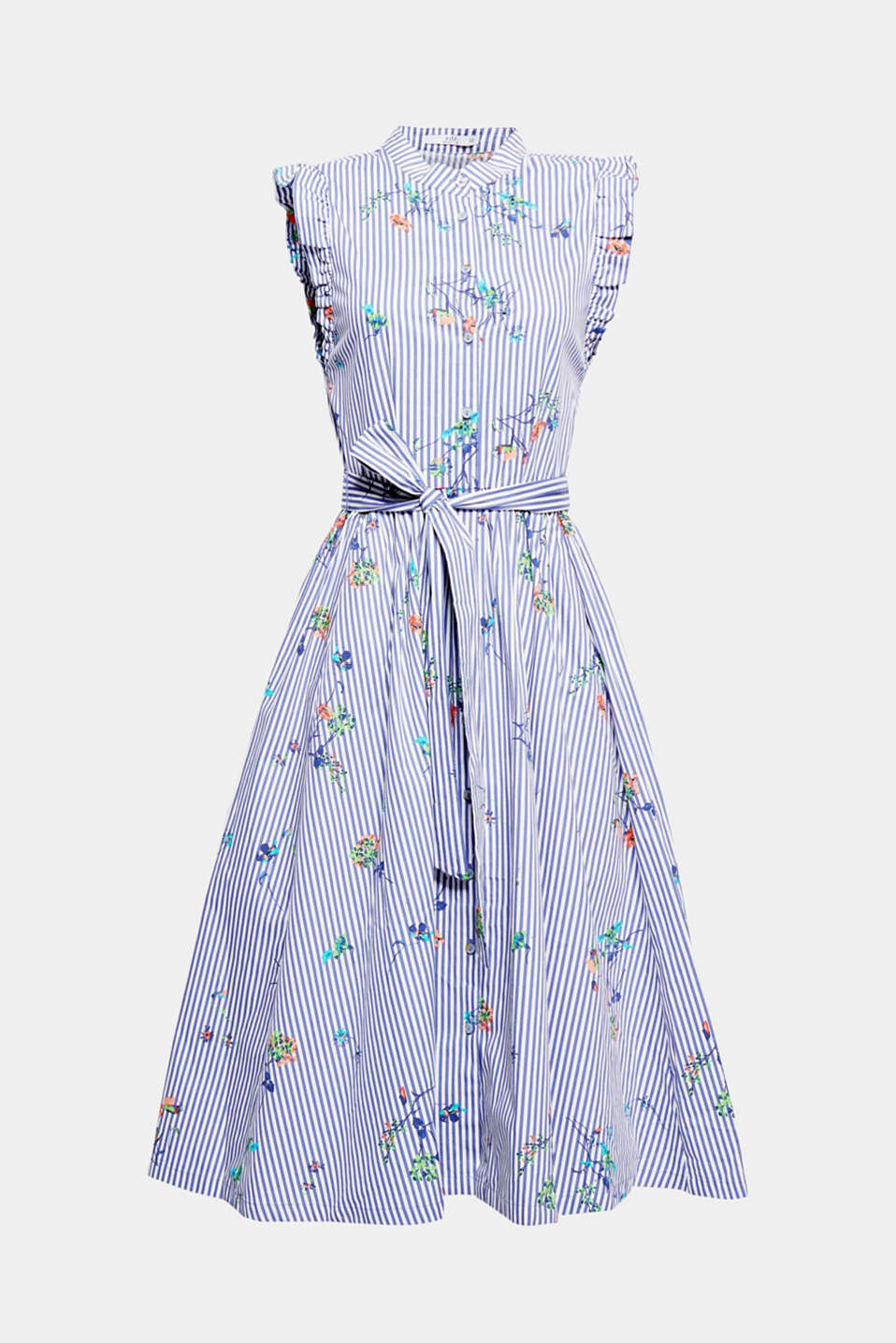 An ultra feminine, swirling, flared silhouette, delicate frilled sleeves and a fresh, striped flower print give this dress its unmistakable charm.