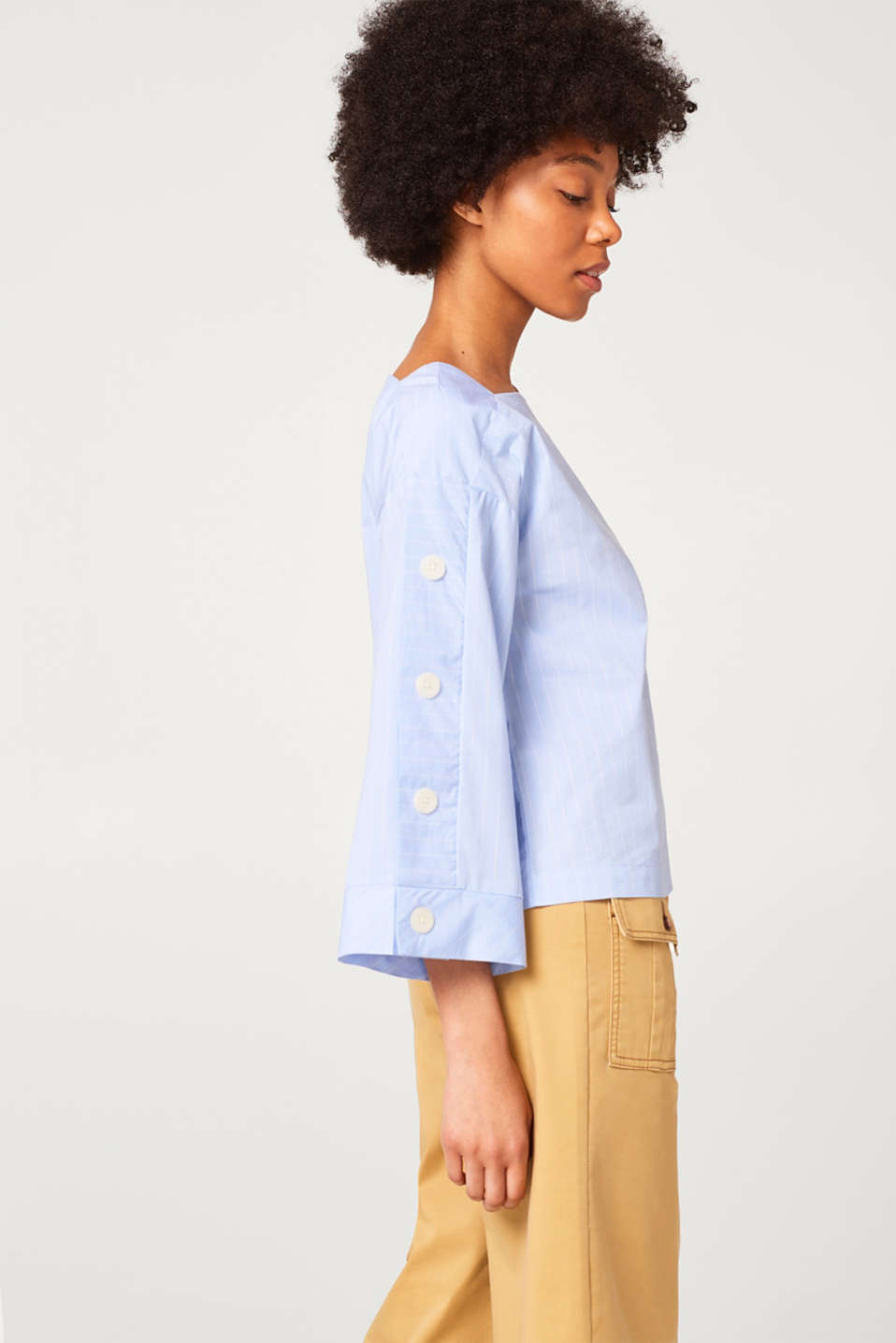 edc - Striped boxy blouse with button plackets