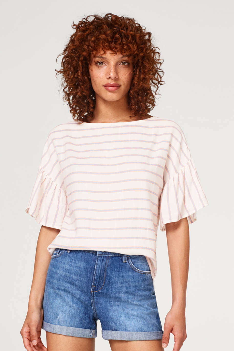 edc - Lightweight woven blouse with stripes and cap sleeves
