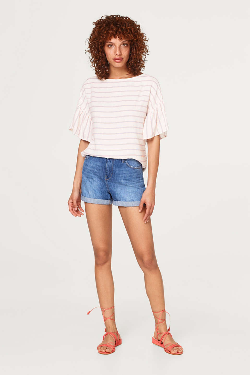 Lightweight woven blouse with stripes and cap sleeves