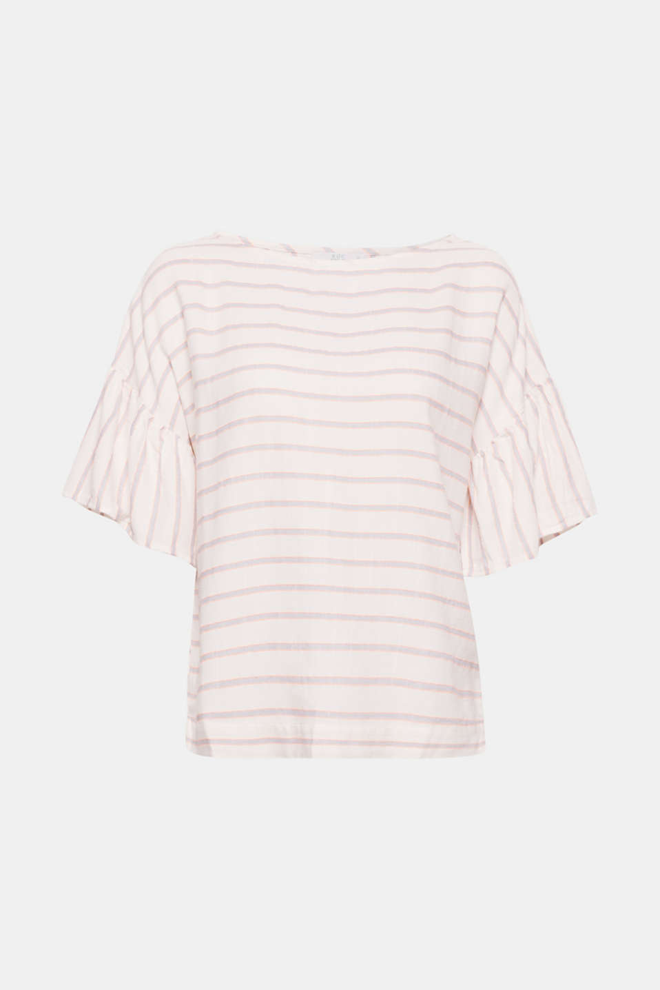 Sporty with bold stripes yet feminine thanks to the floaty cap sleeves. This blouse is a must-have piece for a light, spring look.