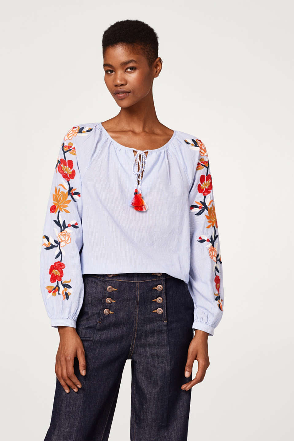 edc - Embroidered blouse, organic cotton
