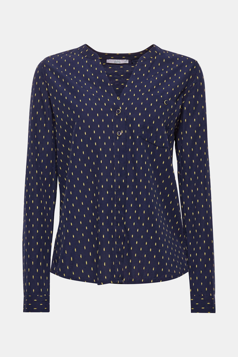 Crafted from sustainable organic cotton, this feminine blouse features a fine minimal print.