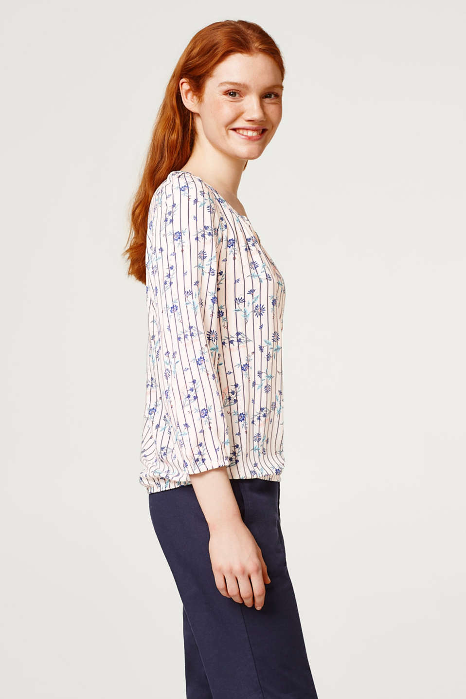 edc - Delicate blouse with a stripe/flower print