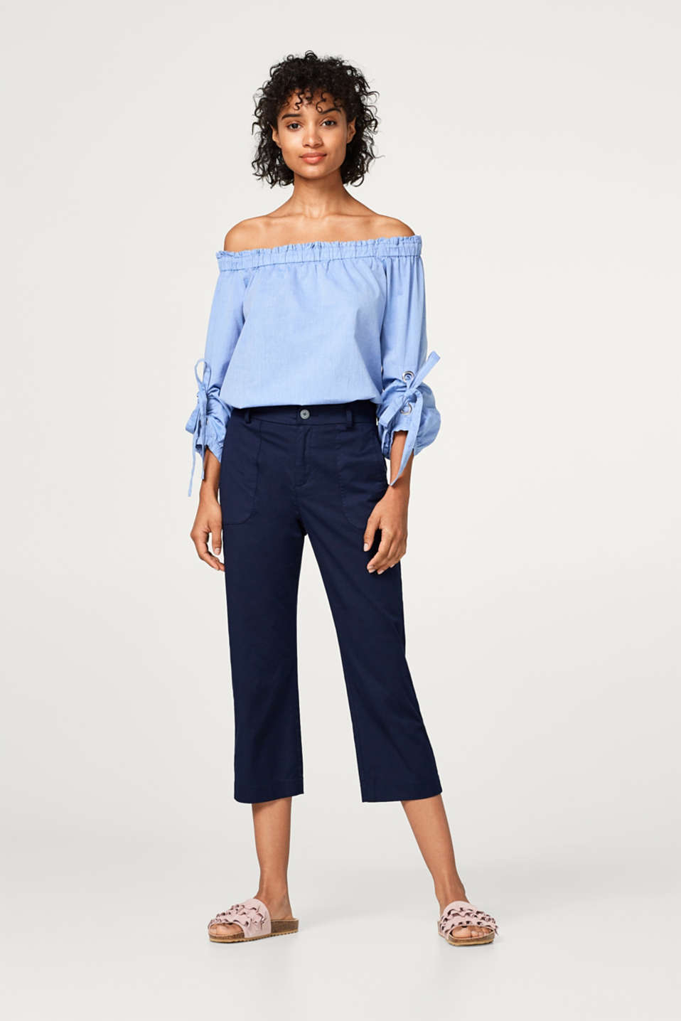 Off-the-shoulder blouse in cotton