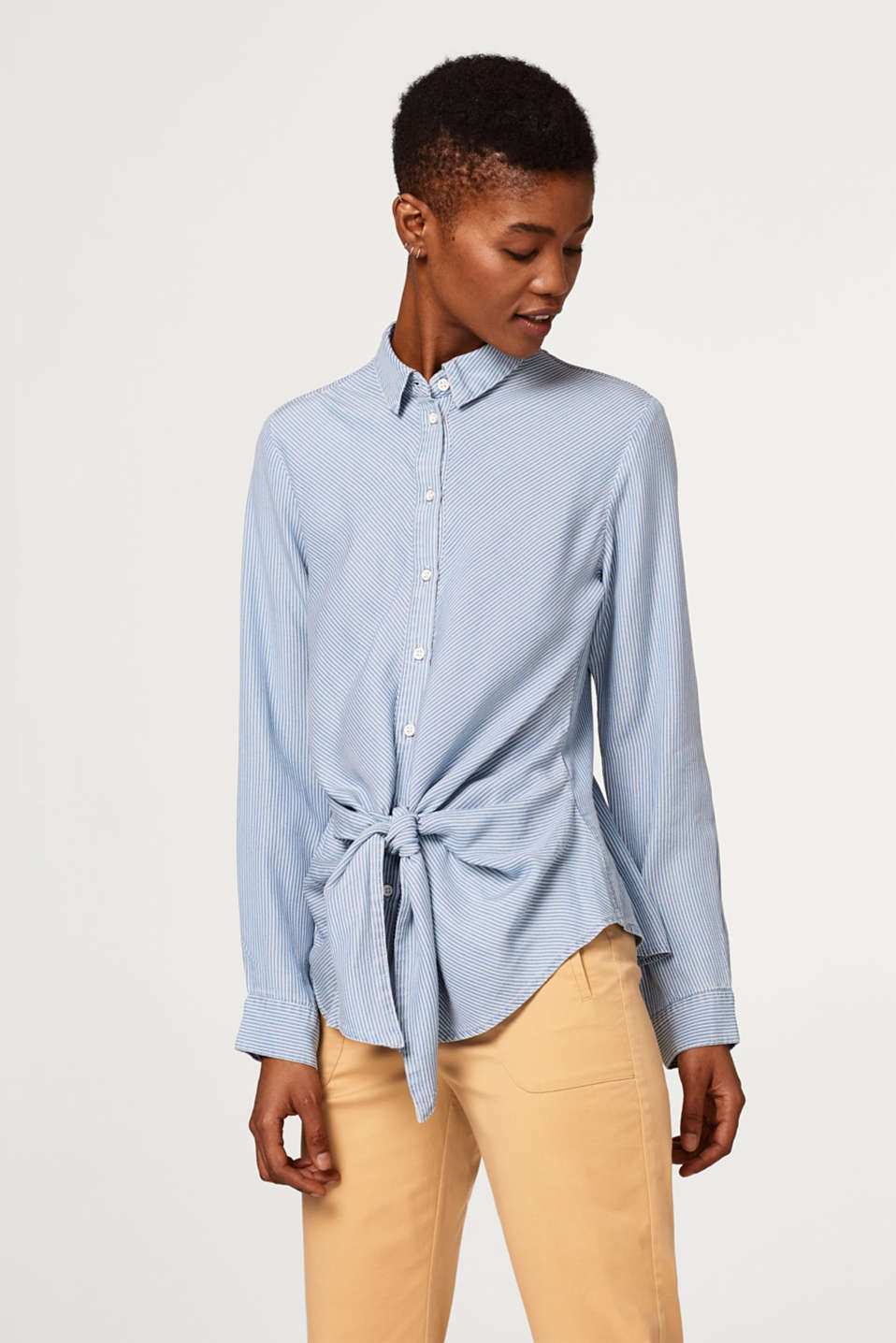 edc - Lightweight striped blouse with a knot at the front