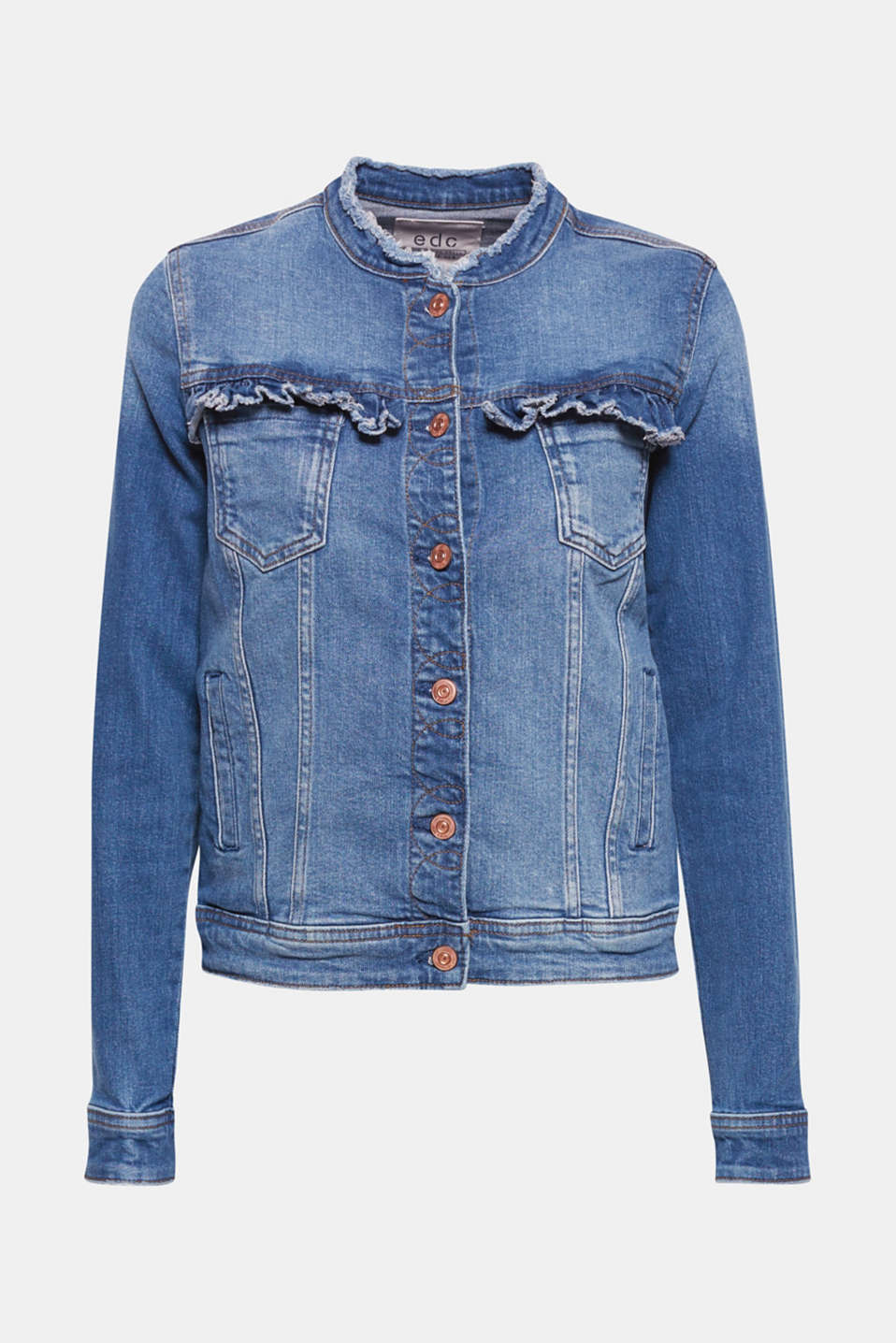 A classic with a twist, this denim jacket features frayed edges, feminine frills and zip details.