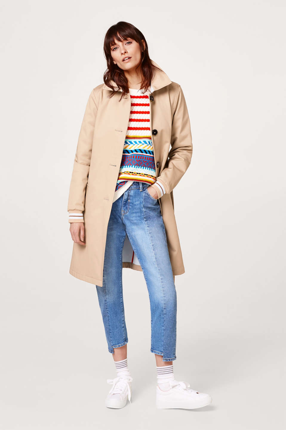 Cotton trench coat with ribbed cuffs
