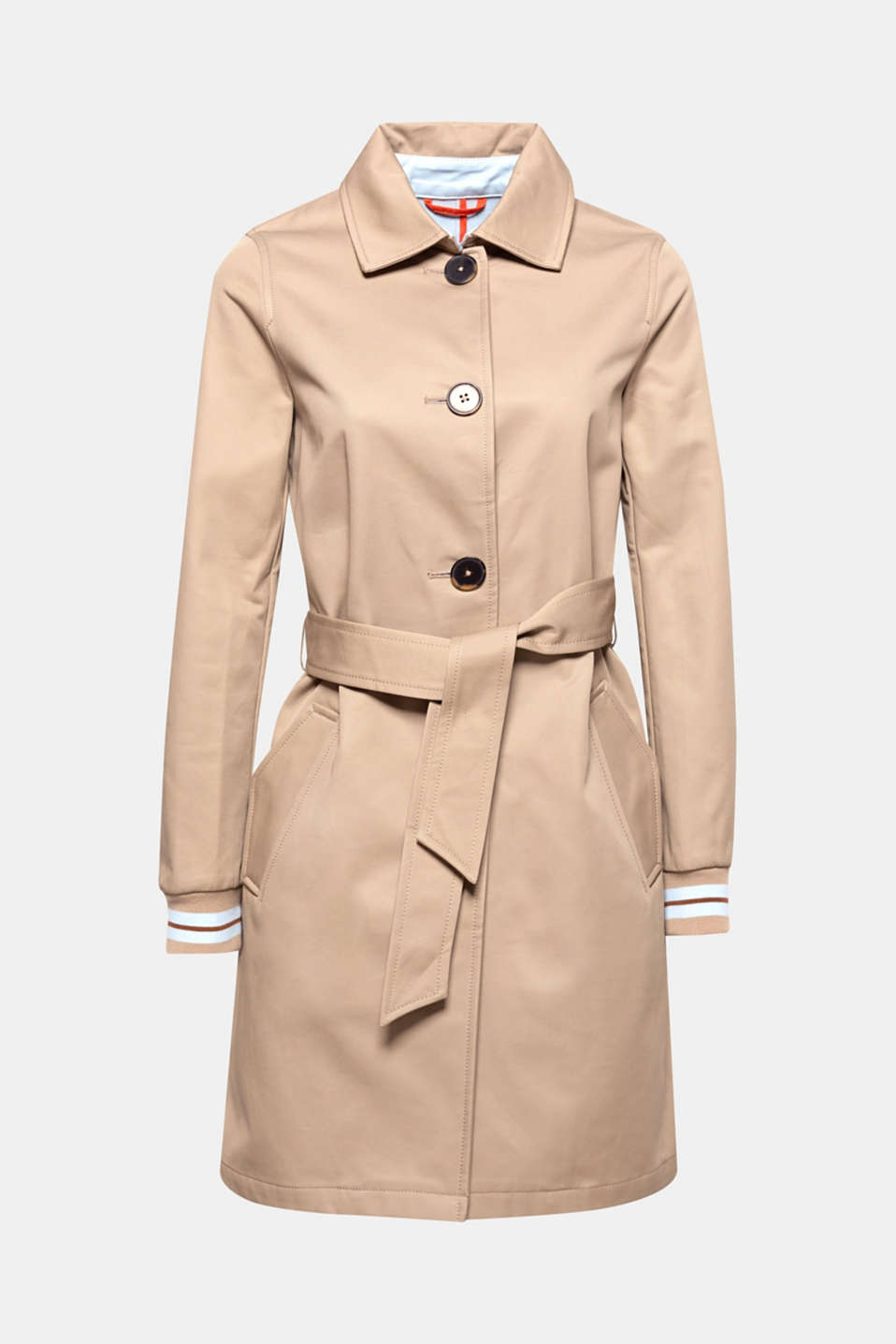 A fashion piece for the changing of the seasons: the striped, ribbed cuffs give this straight cut trench coat a new, sporty note.