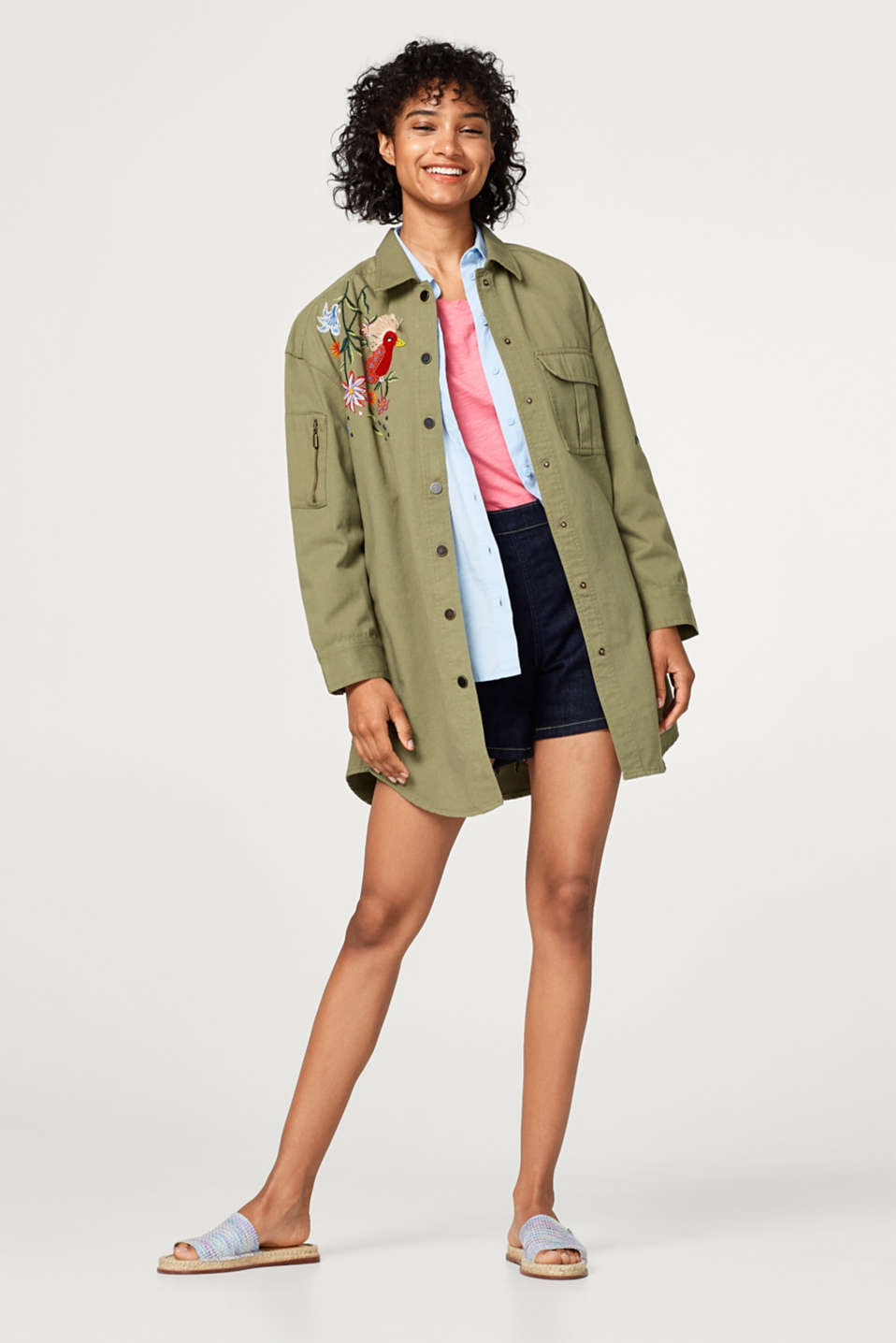 Embroidered utility style shirt jacket