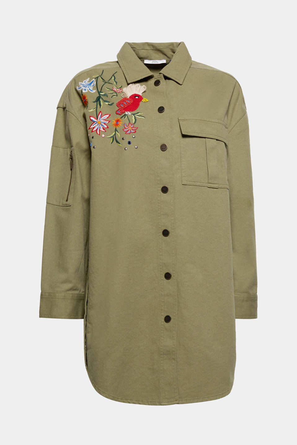 A piece to die for: this slightly oversized utility jacket is embellished on both sides with colourful embroidery.