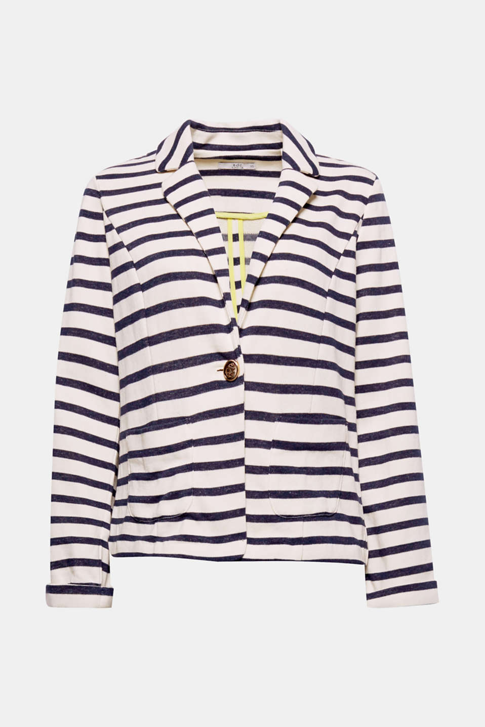 Nautical style meets casual elegance: this striped blazer with an anchor motif button complements an outfit perfectly.