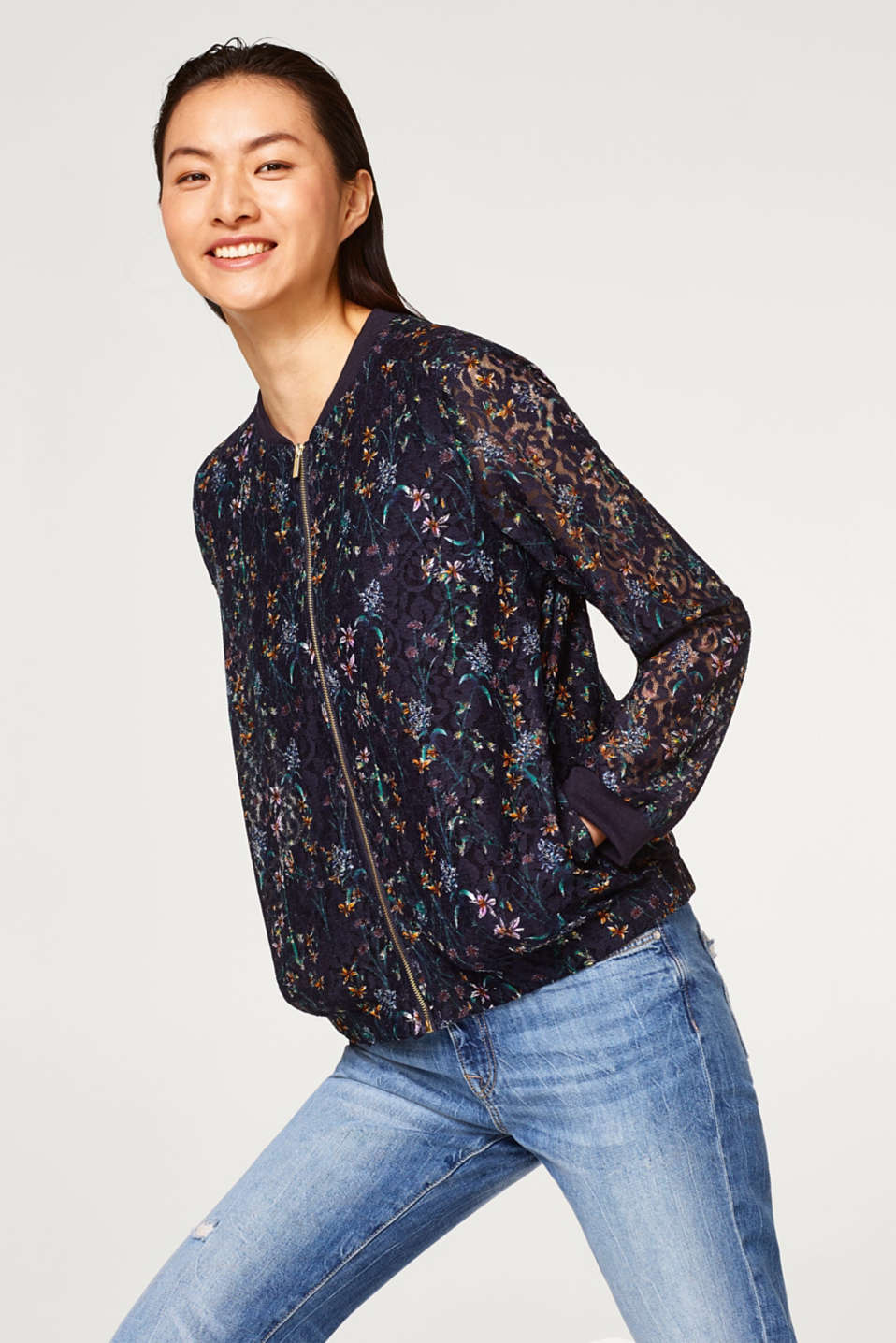 edc - Floral patterned bomber jacket
