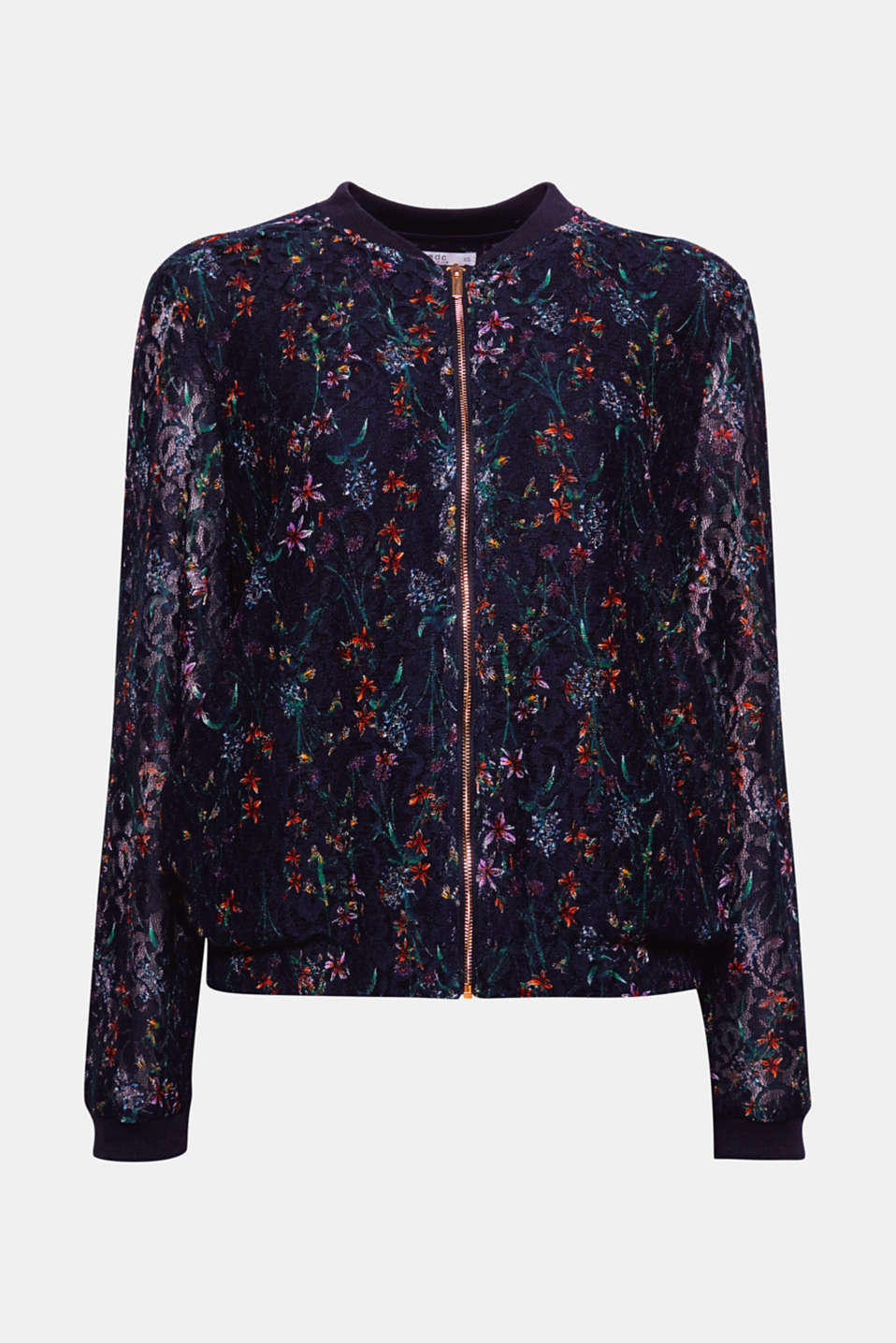 A sporty classic in a fresh design: This bomber jacket features a floral design and a semi-sheer finish.