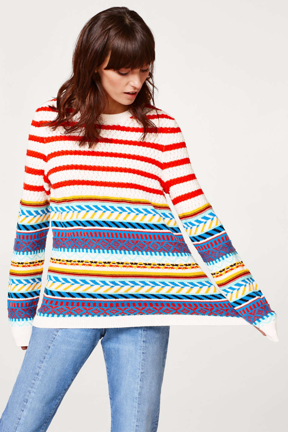 edc - Multicolor-Pulli aus Baumwoll-Mix