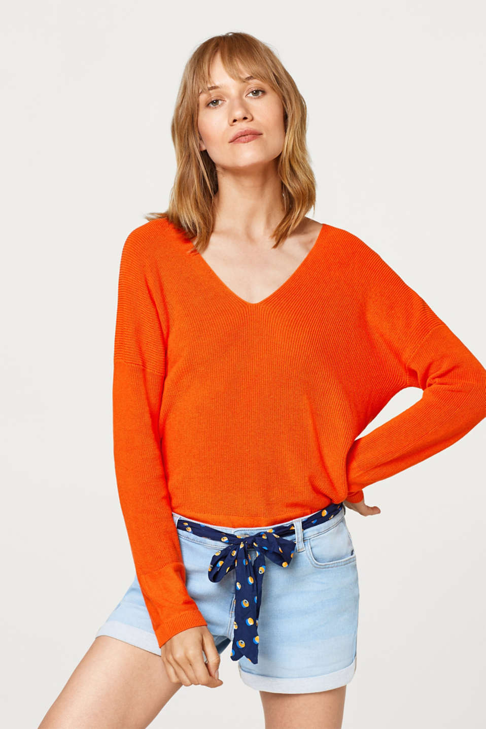 edc - Rib knit jumper in a cotton-linen blend