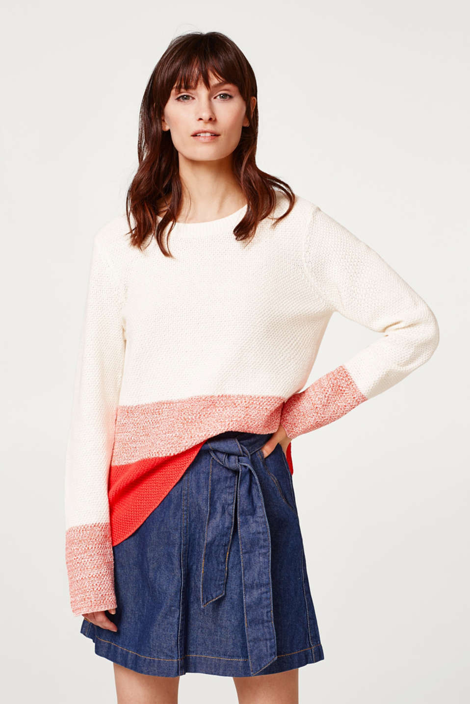 edc - Colour block jumper in a cotton-linen blend